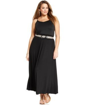 Agb Plus Size Belted Maxi Skirt
