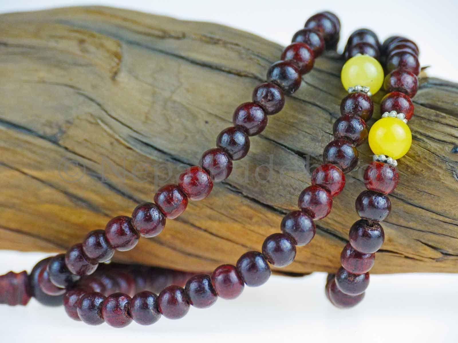 Wrist jewellery rosary mala rosewood nepal citrine rosario bracelet