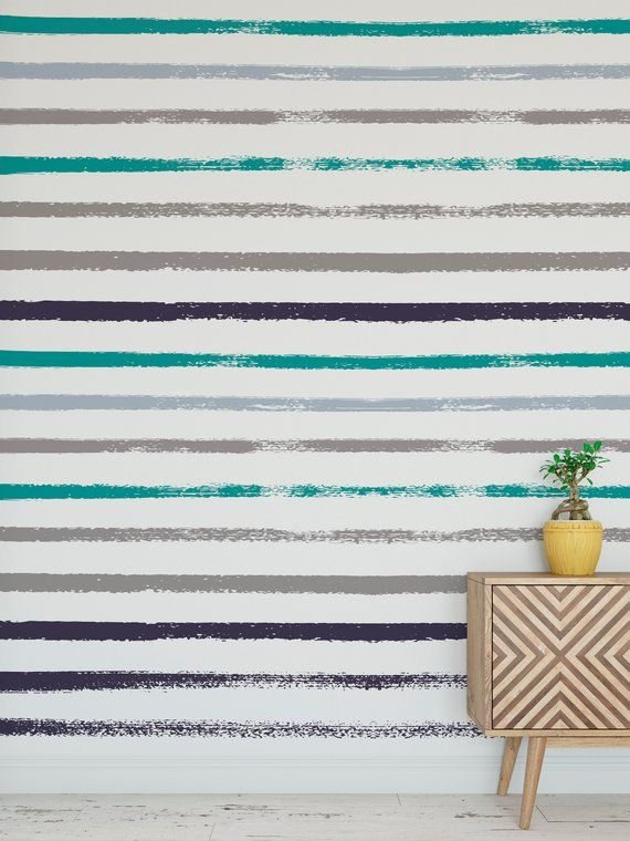 Removable peel and stick wallpaper/ Modern green colorful