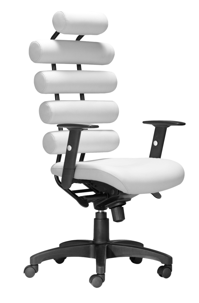 This High Back Office Chair Provides Ultimate Lumbar Support The Unico Has Firm Leatherette Cushion Rolls White Office Chair Modern Office Chair Office Chair