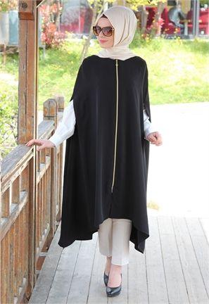 Manşet Fermuarlı-Kolsuz Tunik-Siyah-1953 | Elegant Hijab & Islamic ...