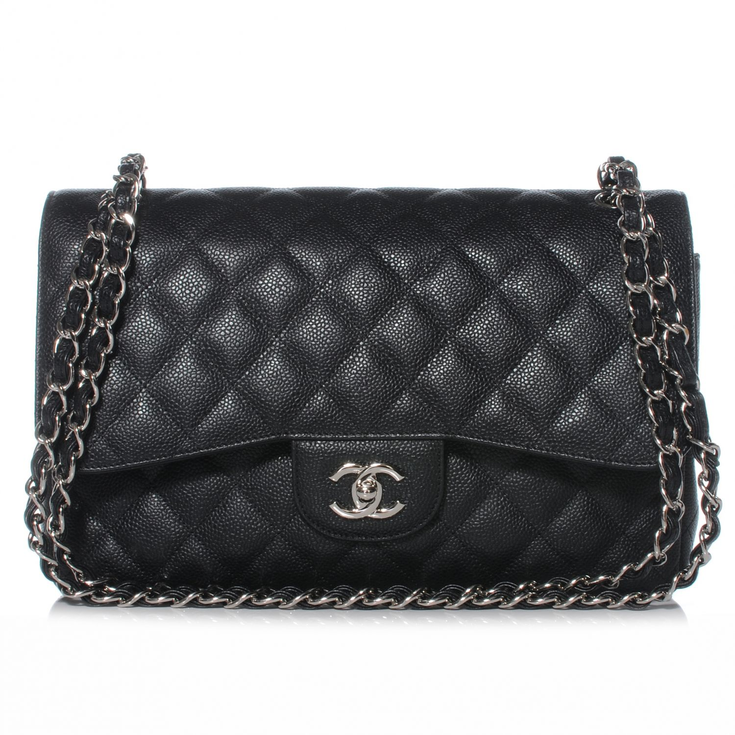 8134f26fcd0666 Chanel Black Quilted Caviar Classic Jumbo 2.55 Double Flap Bag with Silver  hardware.