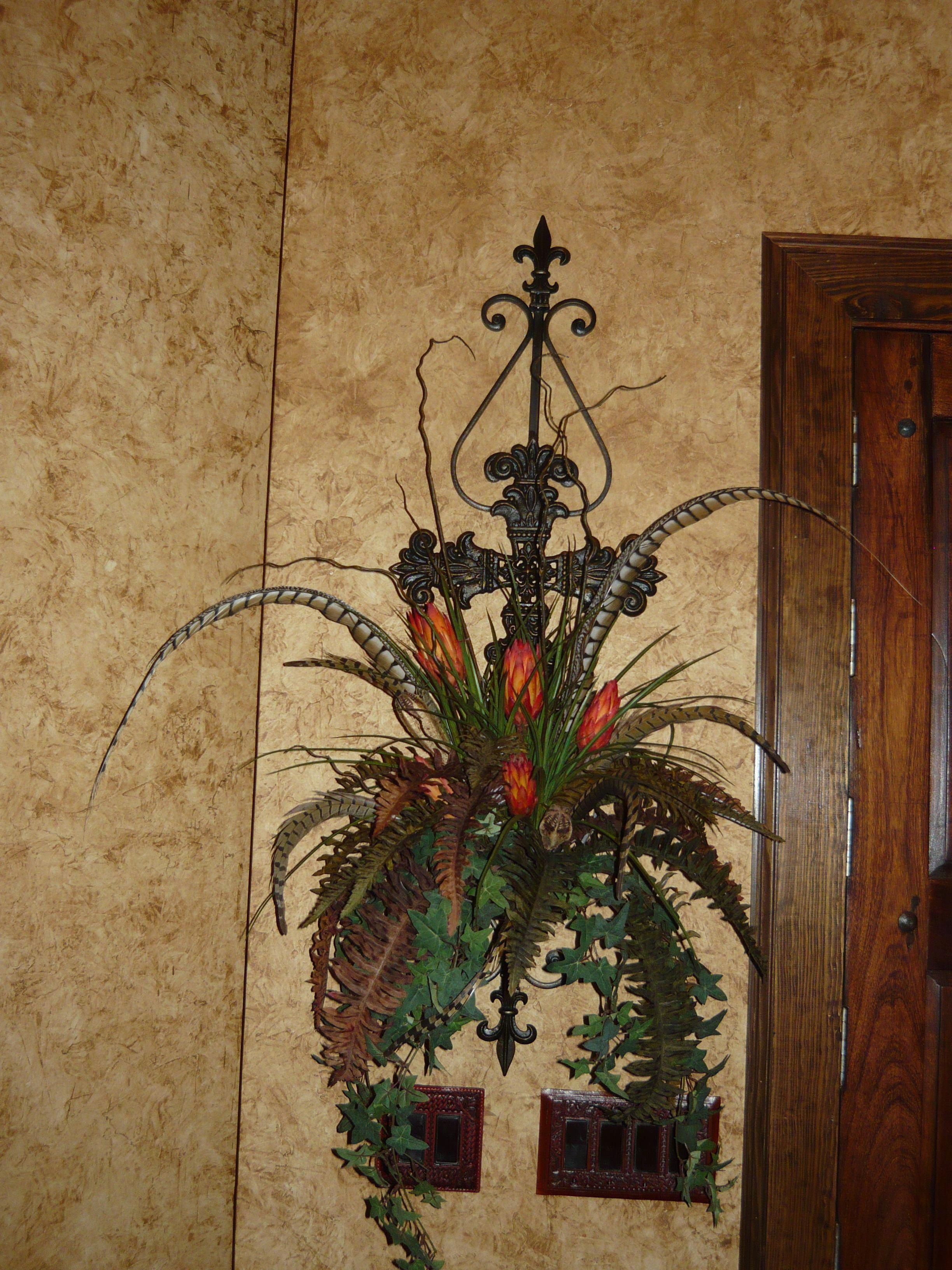 Custom Iron Wall Scroll With Cross With Custom Floral Arrangement