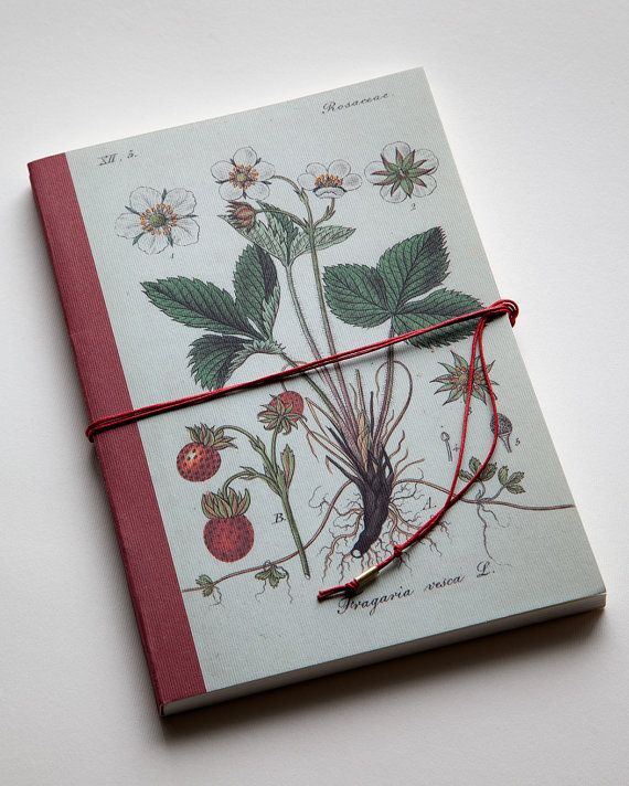 Strawberry. Red. Handmade bind fold notebook, Journal, Diary. Historical illustration. fruit Floral motive. special design wrapp, red yarn