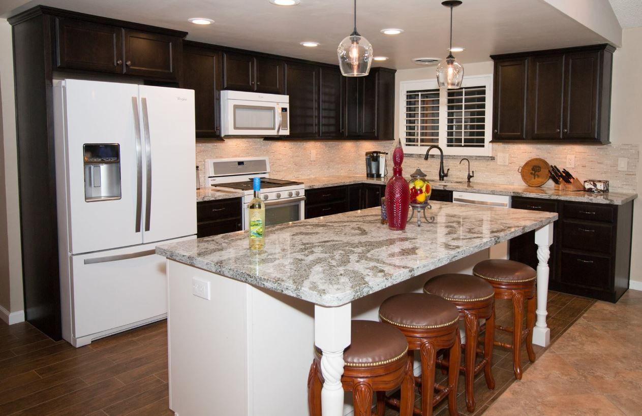 starmark cherry java with maple marshmallow island cambria galloway quartz with flat polish on kitchen cabinets java id=34837