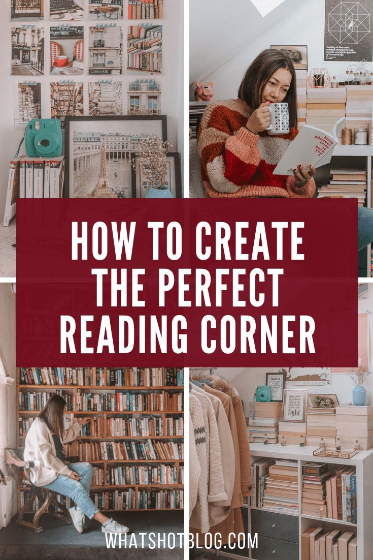 Find out how to create a cosy reading corner in your bedroom - think books, blankets, pillows, but most importantly, peace and quiet. Make your reading nook your escape! #whatshotblog #readingnook #readingcorner #interiordesign #booklovers #bookrecommendations #bookworm #bookshelf #bookshelves