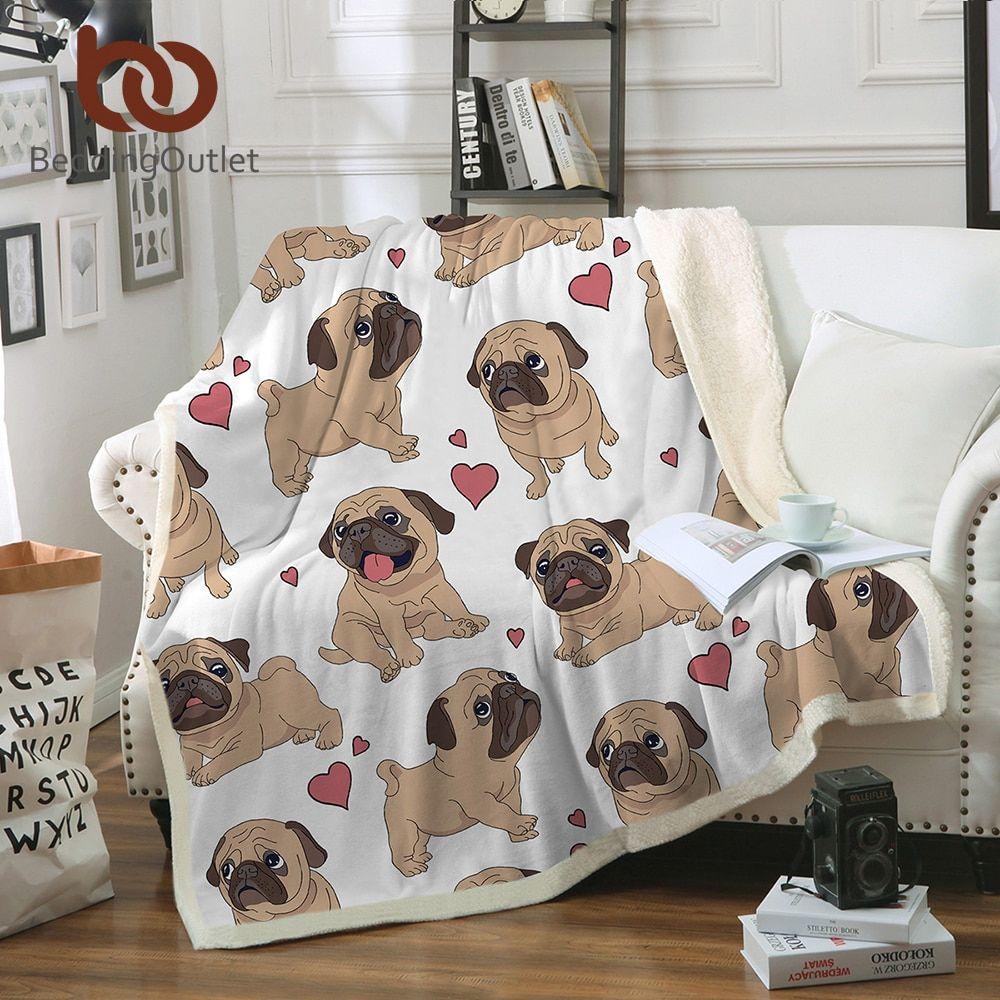 Cheap BeddingOutlet Hippie Pug Sherpa manta camas felpa de