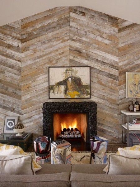 Diagonal Wood Plank Accent Wall With Fireplace 450x600