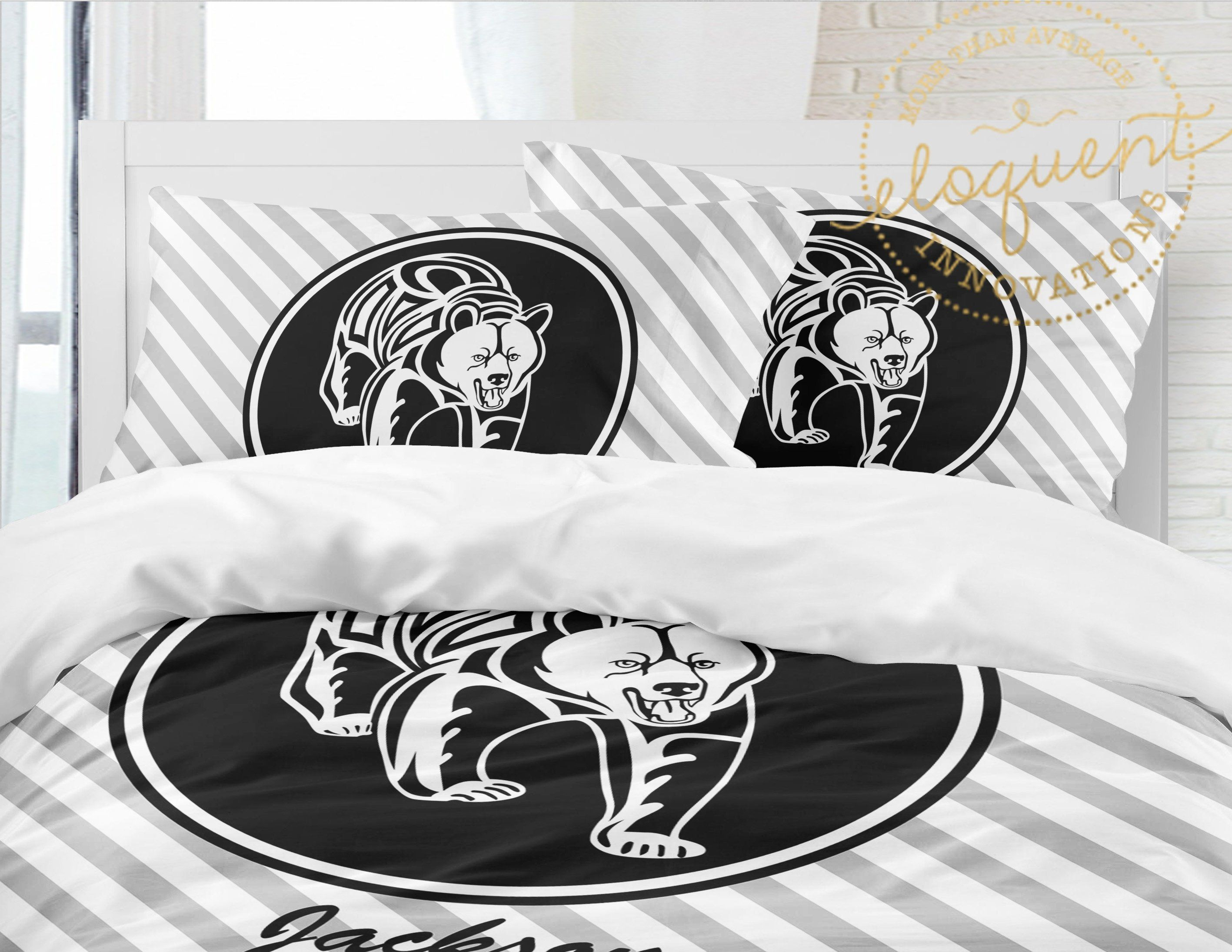 Bear Comforter Set Black Bear Bedding Theme For Boys Striped Personalized With Name Full Queen King And Tw Black Duvet Cover Comforter Sets Duvet Covers