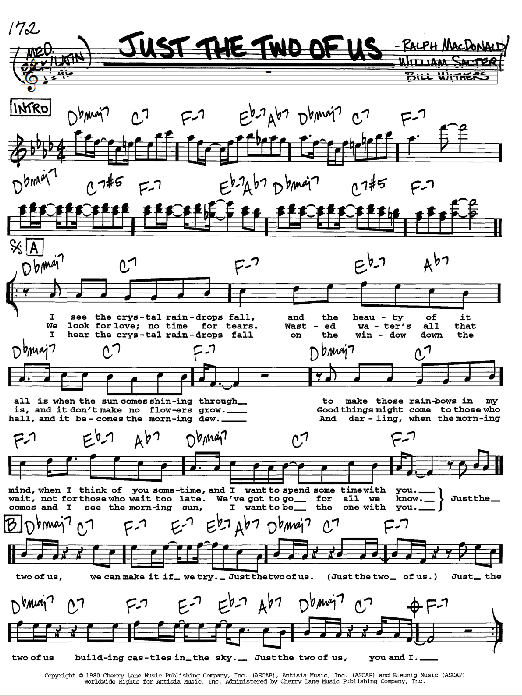 Just The Two Of Us Sheet Music Grover Washington Jr Feat Bill Withers Real Book Melody Lyrics Chords In 2021 Lyrics And Chords Sheet Music Jazz Sheet Music