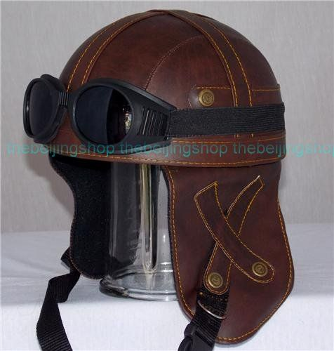 Pu Leather Retro Style Outrider Motorcycle Helmet W Goggle