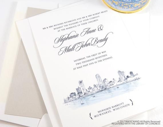Milwaukee Skyline New Northwestern Building Wedding