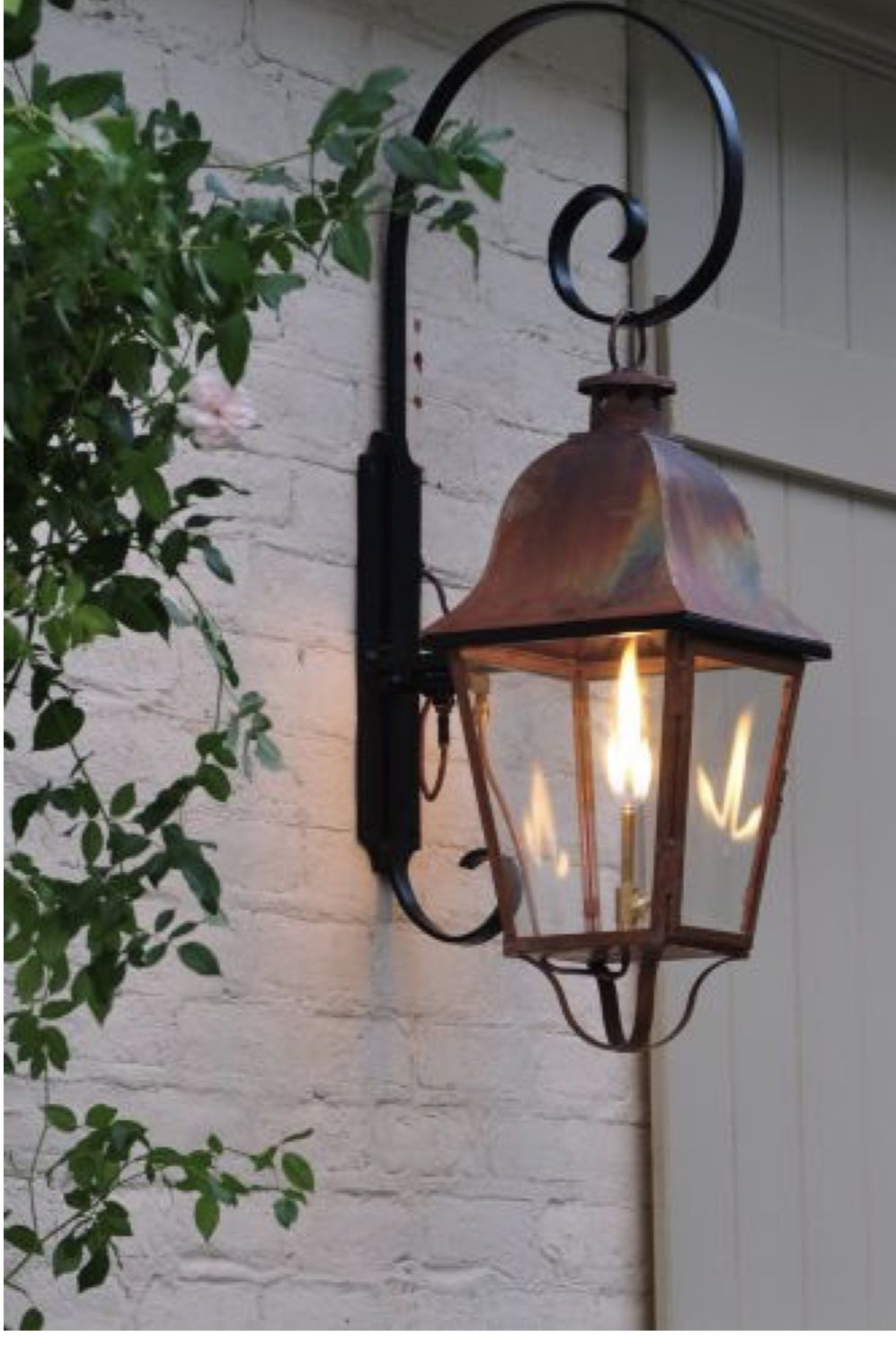Painted Brick With Copper Lanterns Lowcountry Perfection Gas Lanterns Copper Lighting Exterior Light Fixtures