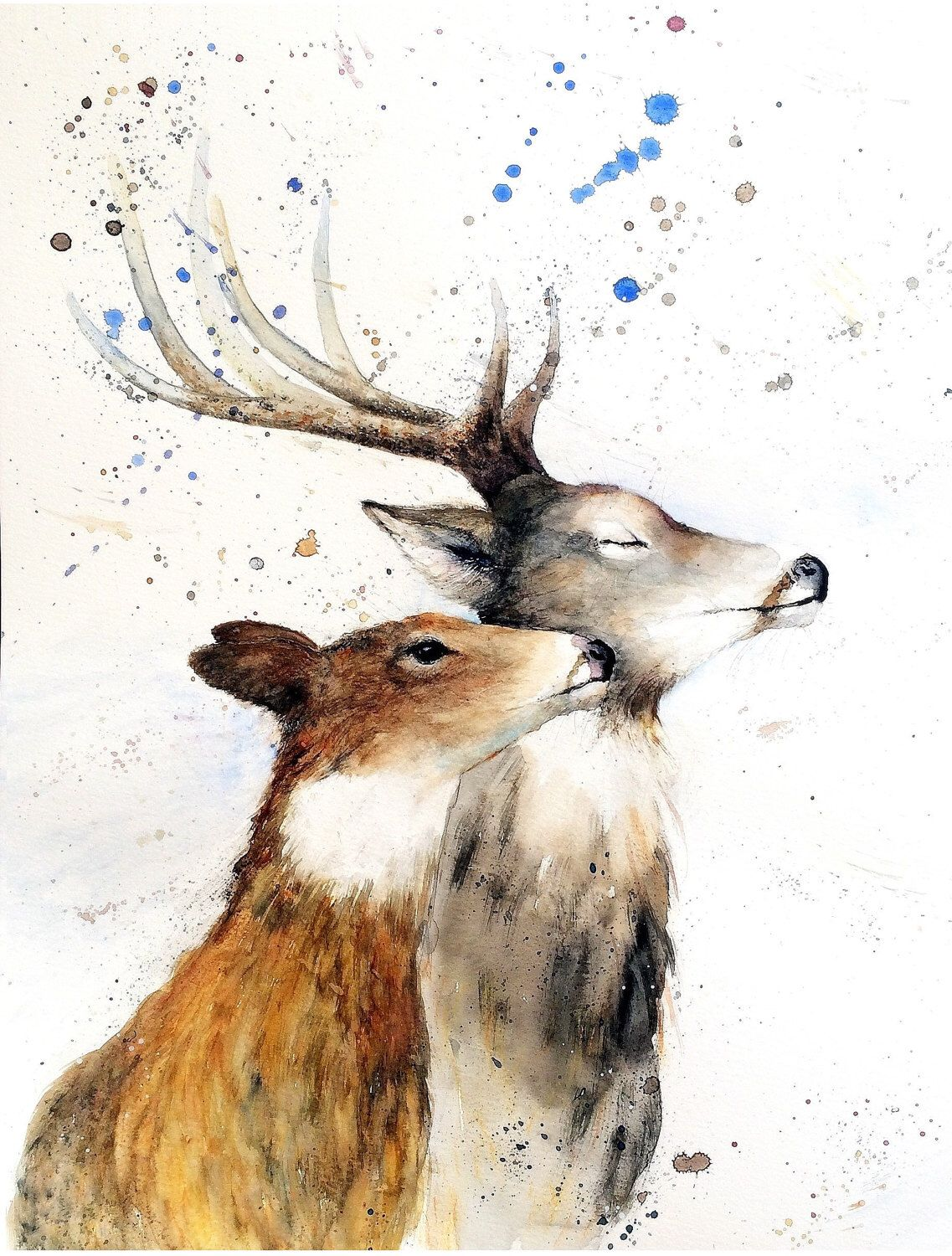 Print Of My Original Watercolour Deer And Doe Painting By Nancy Antoni Watercolor Stag Love