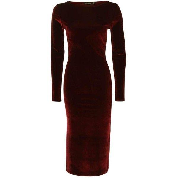 Boohoo Beatrice Velvet Midi Bodycon Dress  9894db579
