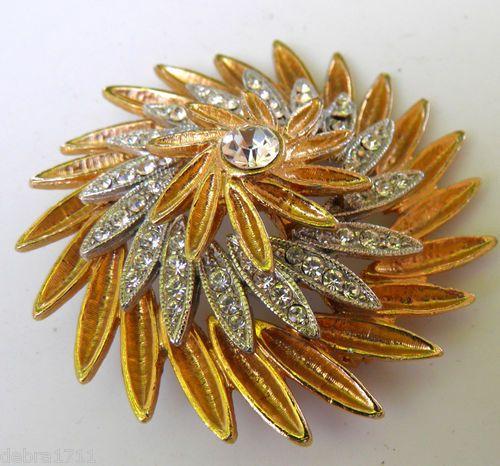 CAPRI Bicolor Crystal Clear Rhinestone Floral petal Signed Vintage Brooch pin