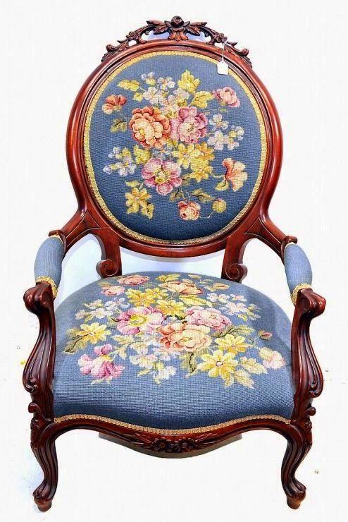 Милые сердцу штучки: Berlin Wollwork: Вышитая мебель · Vintage ArmchairAntique  ChairsAntique ...