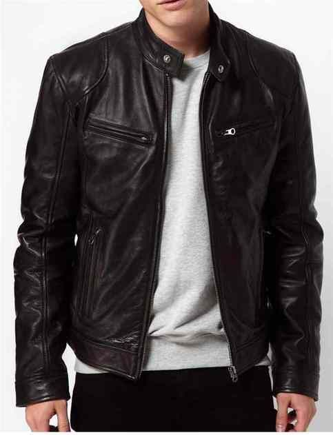 Men Black Leather Jacket Real Leather Biker Jacket With Images