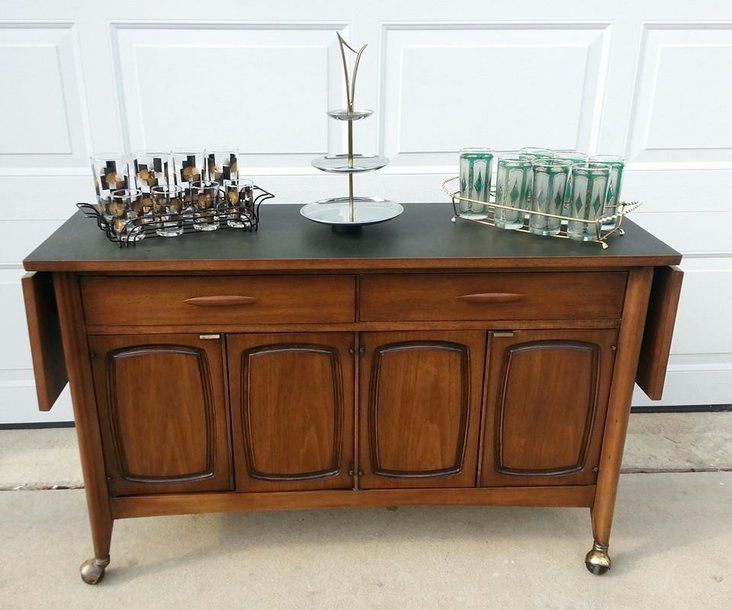 MCM Broyhill Emphasis Rolling Bar Cart Buffet