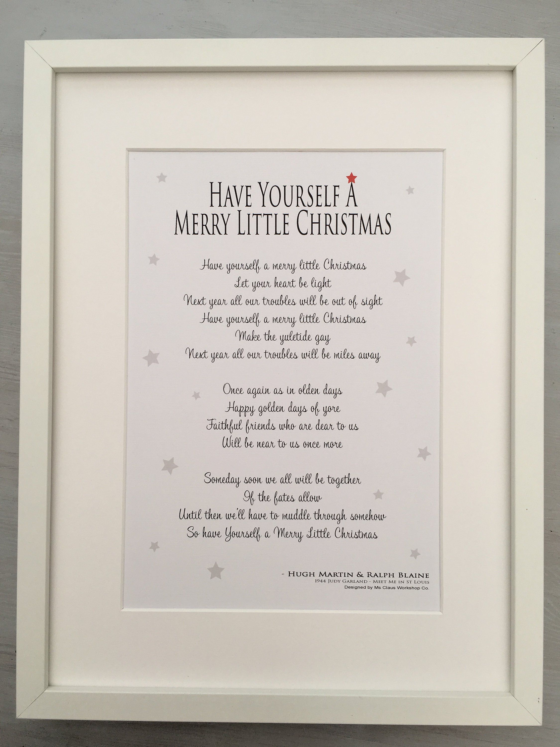 Have Yourself A Merry Little Christmas - Christmas Carol Lyric Song Frame or Print Gift | Merry ...