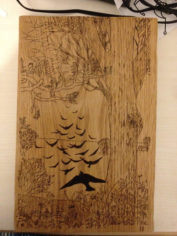 A work on A4 of Oak. Eva Stockhaus, wood engraving. Based on https://www.pinterest.com/pin/388083692868256906/