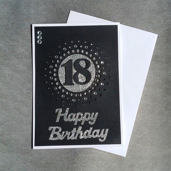 Happy 18th Birthday Card Black And Silver For Her Or Him Glitter Handmade Greetings Blank Embellished 18 Today