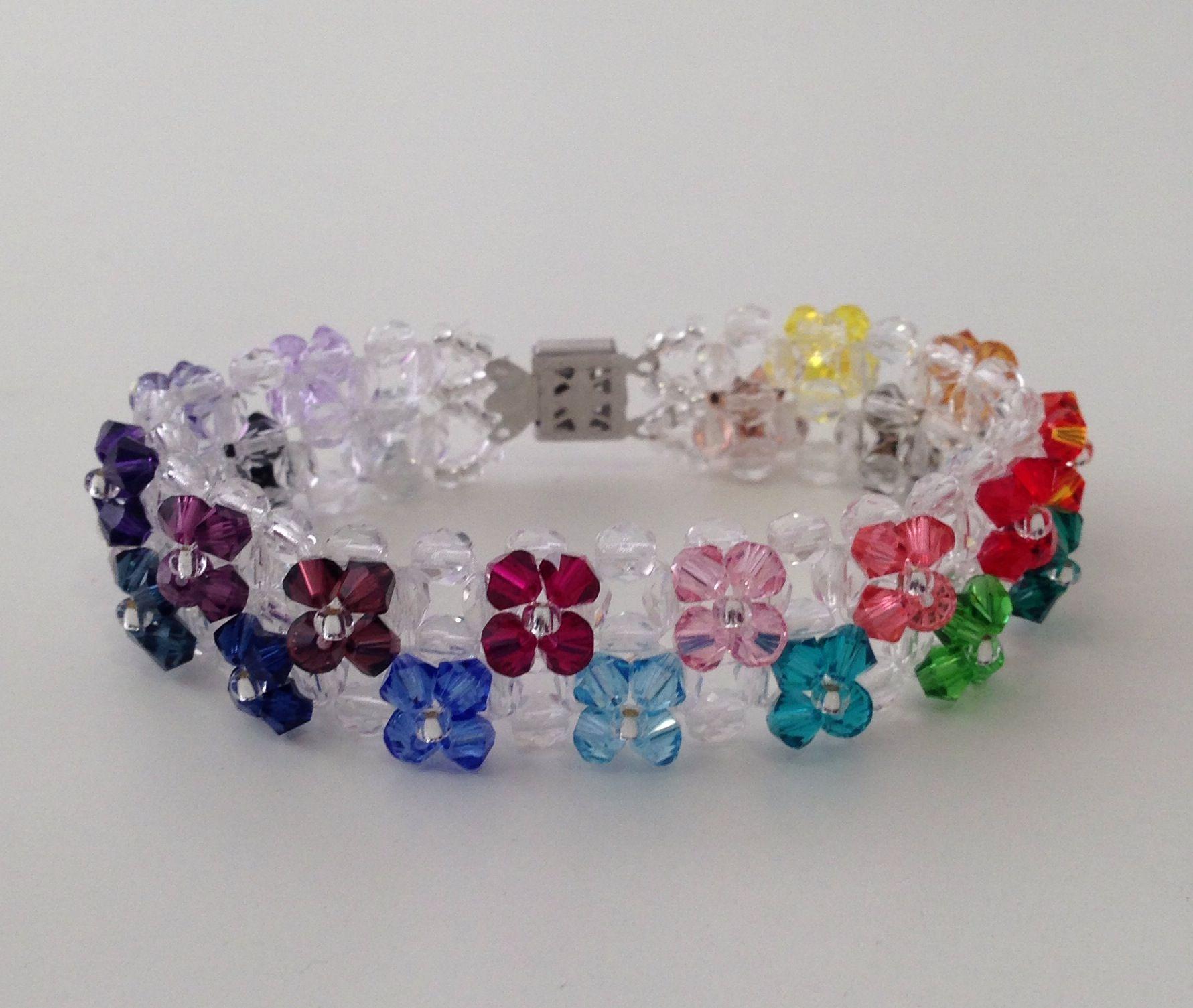 53bced9c2231 Pulsera doble de cristal checo y flores swarovski   halloween ...