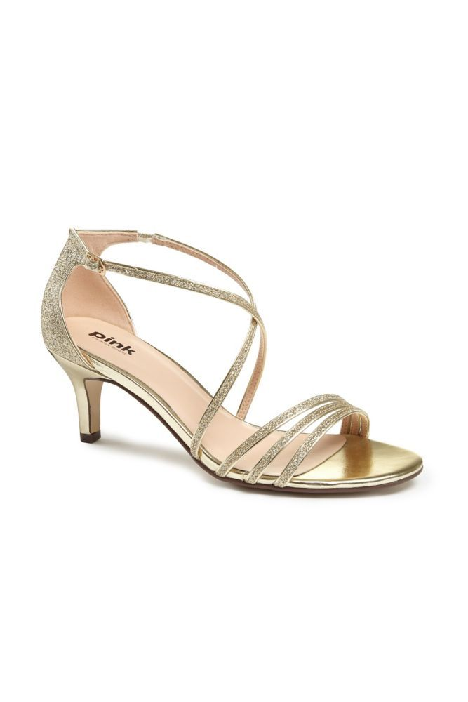 Delicate Thin Strap Metallic Low Heel Sandals Women's