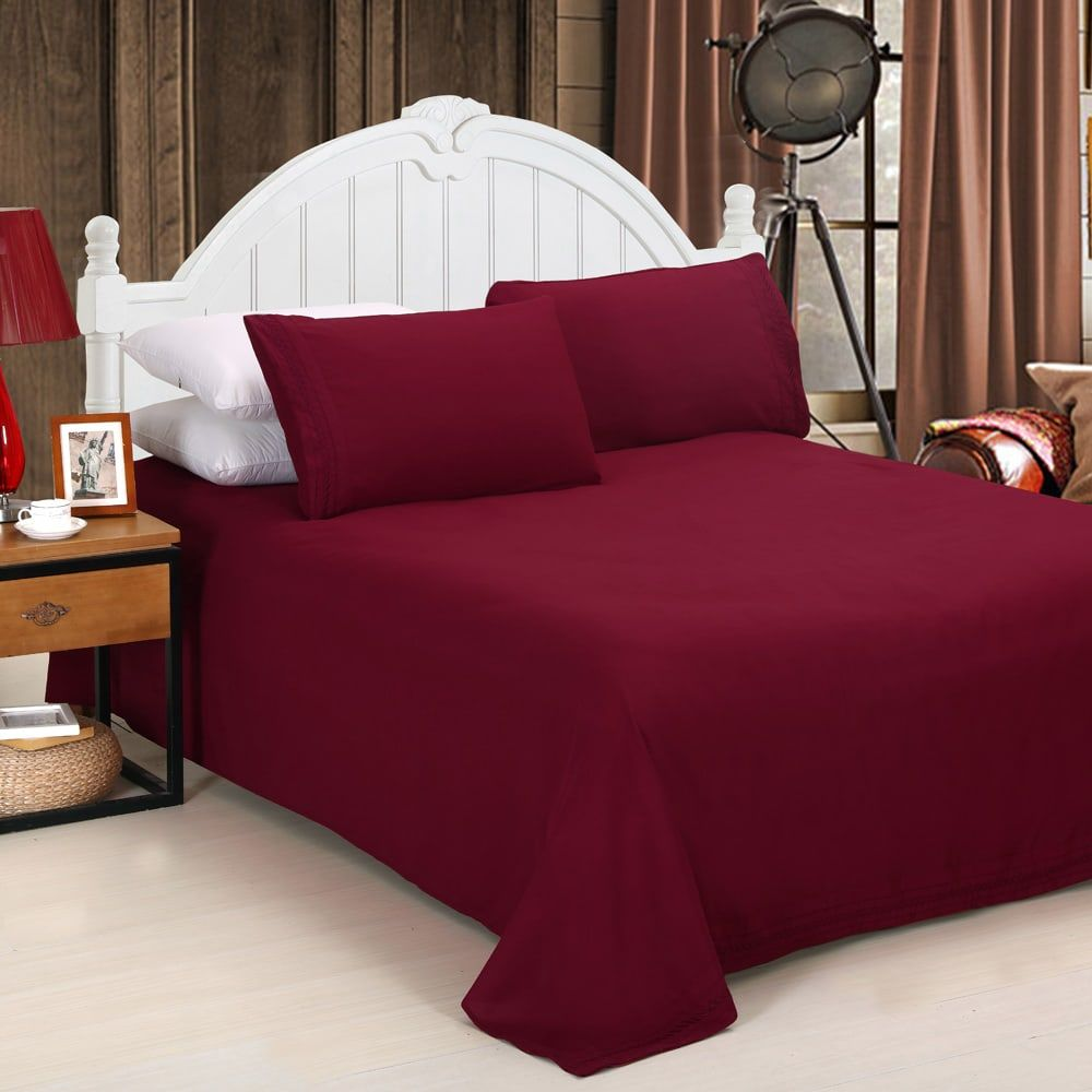 100 cotton sateen red double high thread count 600tc bed