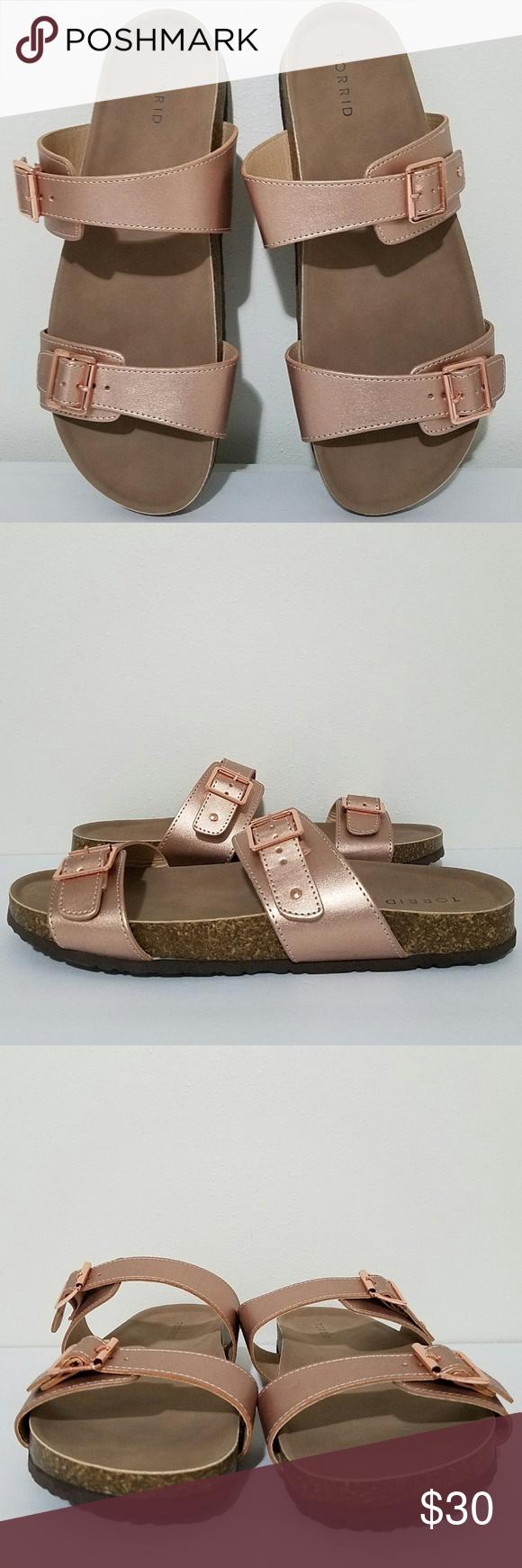 d4647e6a7fb4 Torrid Slides Flip Flop Sandals Size 12.5 Torrid Women s Slide Buckle  T-Strap Cork Sole Platform Flip Flop Sandals Sz 12.5 COLOR  ROSE GOLD HEEL  HEIGHT  1 ...