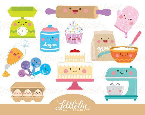 Baking kawaii - baking clipart - cute cake - 16066 | Clip ...