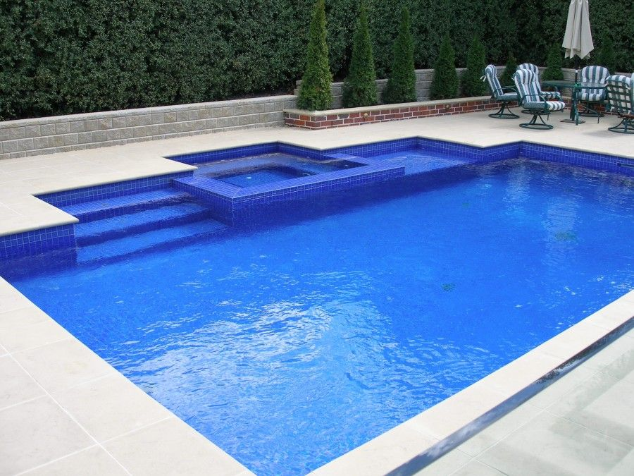 rectangle swimming pools with spa google search