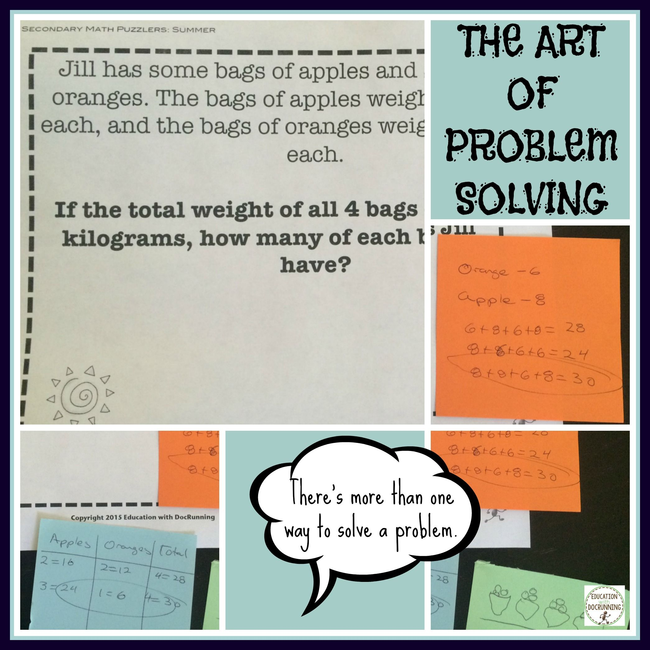 Summer Middle School Math Problem Solving Puzzles and Bell-Ringers ...