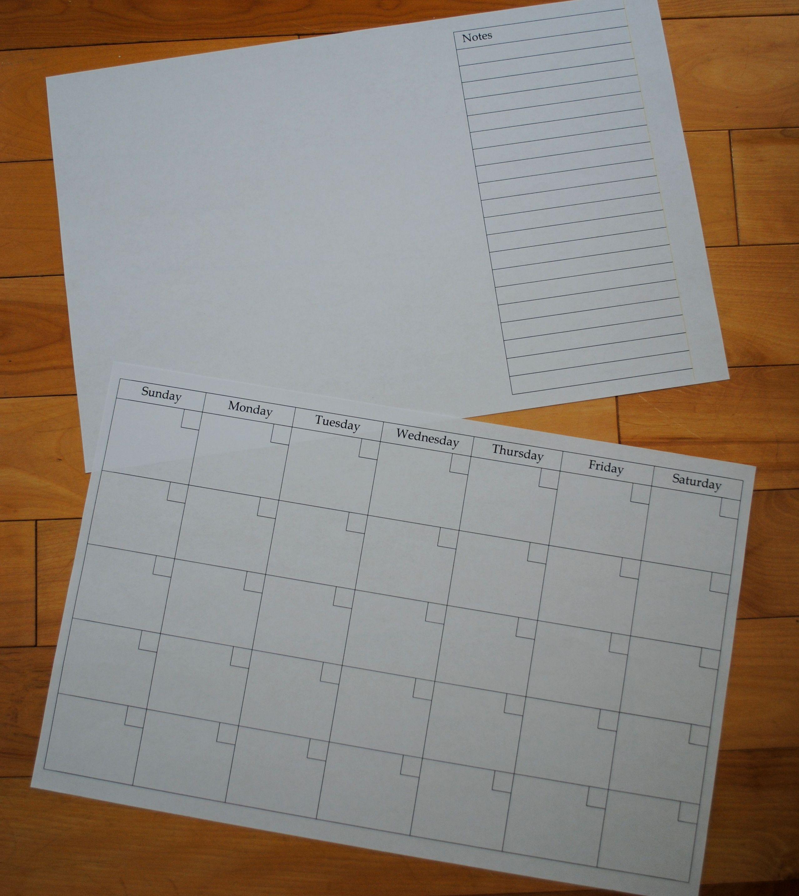 Calendar And Notes Printable
