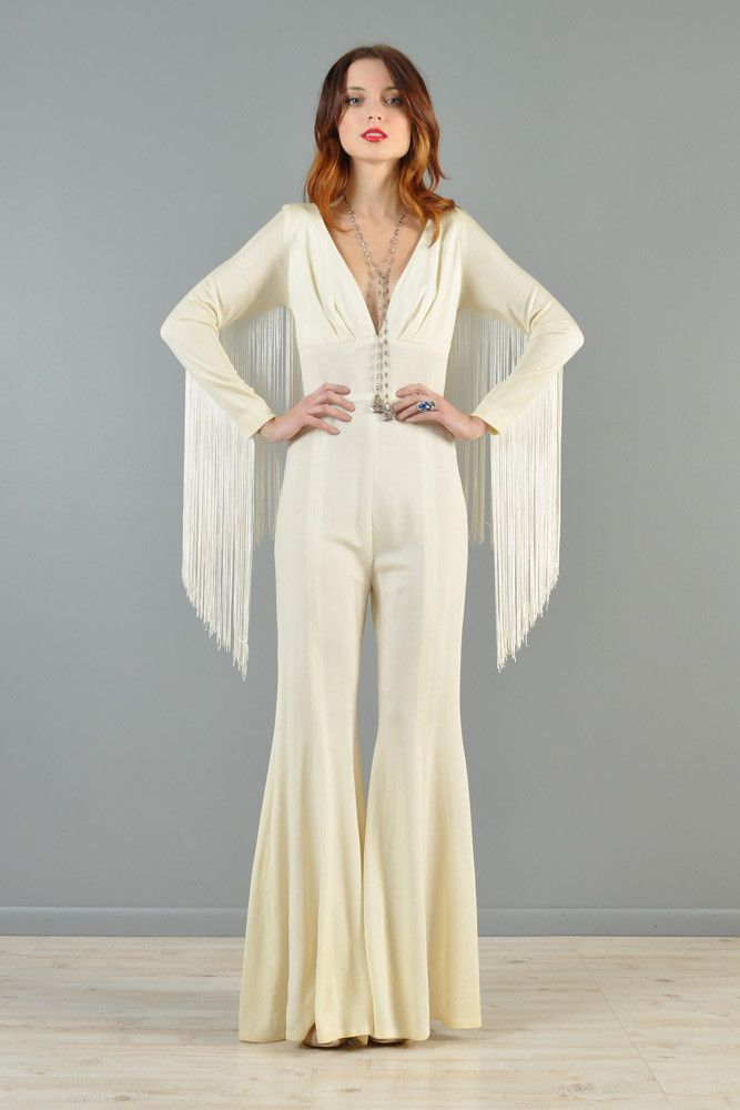 60cdb680b2e0 Bell Bottom Fringe Jumpsuit...cute alternative to a dress