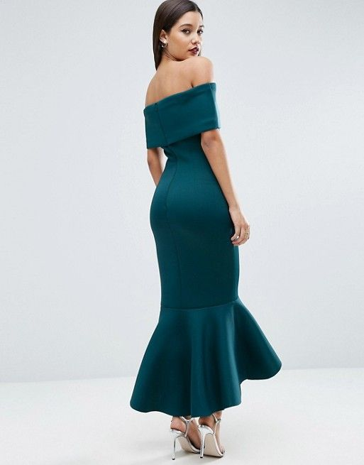 cf8c30552c5 PREMIUM Deep Fold Peplum Midi Dress