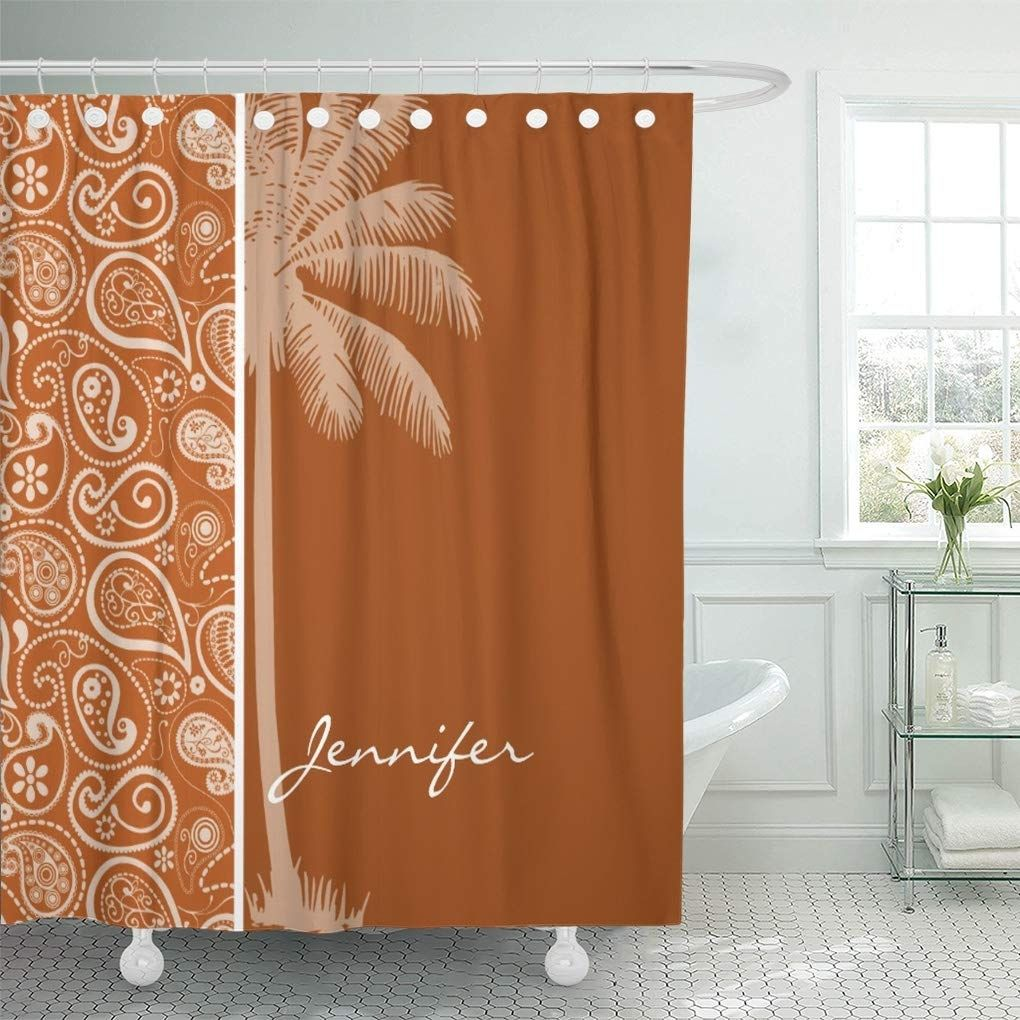Modern Summer Palm On Burnt Orange Paisley Cute Pattern Shower Curtain In 2020 Patterned Shower Curtain Bathroom Decor Curtains