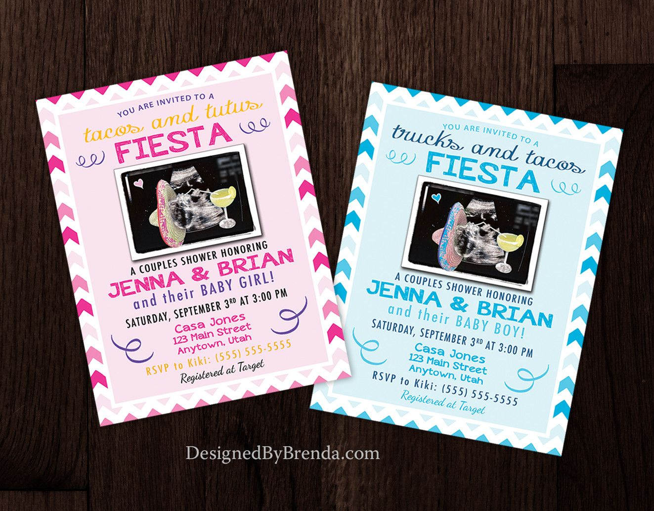 Pink or Blue Baby Shower Invitations with Sonogram Ultrasound ...