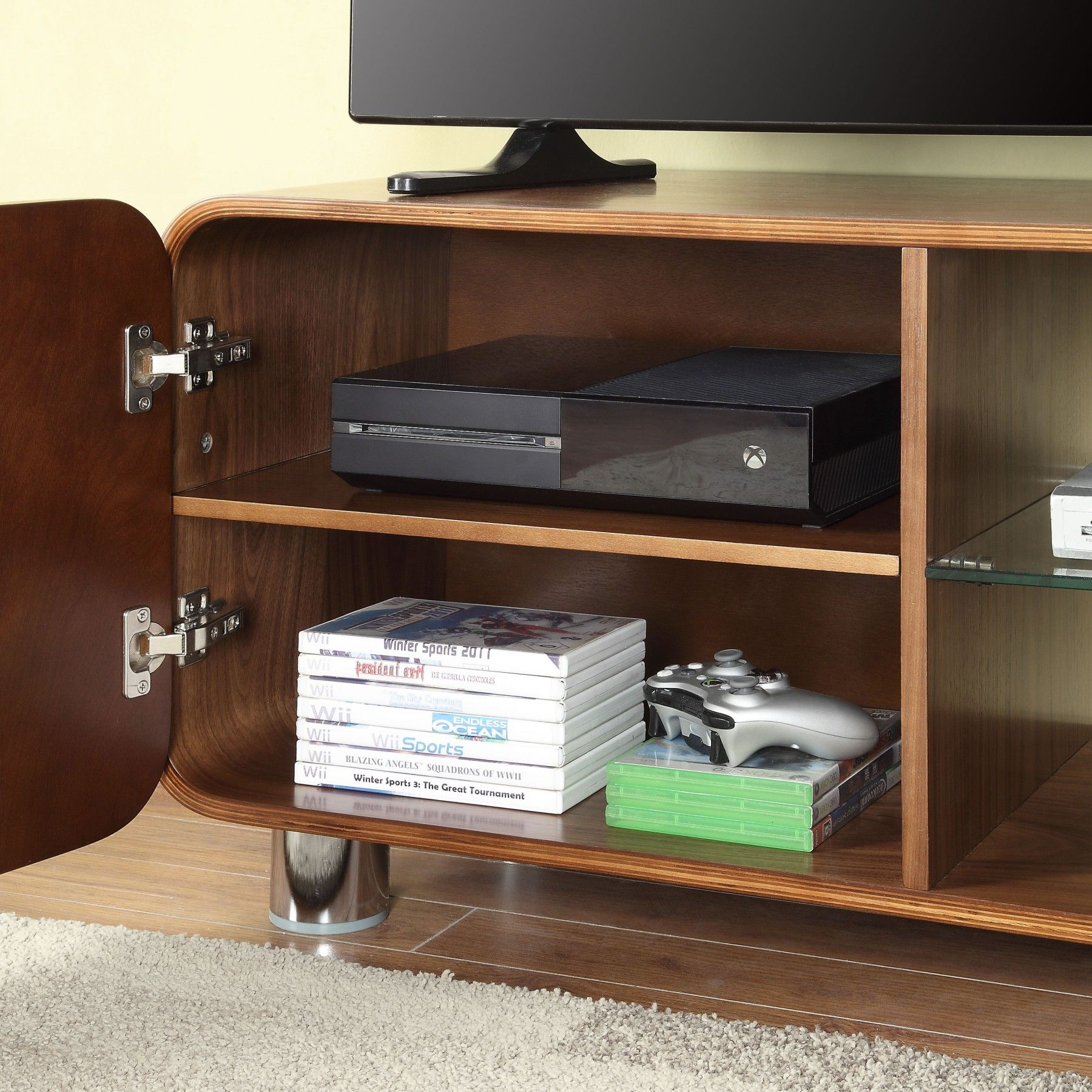 "Jual Furnishings BS202 Walnut TV Stand For Up To 55"" TVs Walnut"