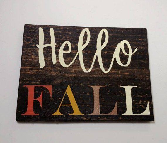 Hello Fall wood sign, Fall Wood Sign, Fall Decor, Rustic Fall Decor, Hello Fall Sign #hellofall
