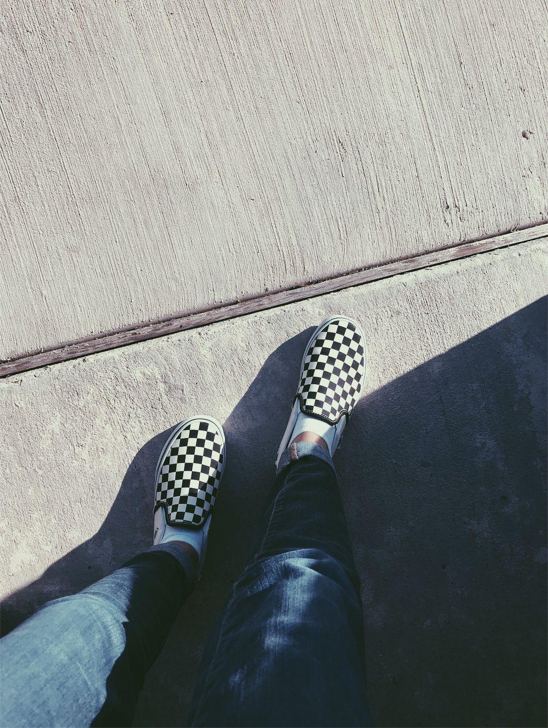 Vans Checkerboard Shoes Sunlight Black White Vsco Aesthetic
