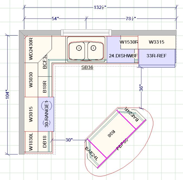 Kitchen Layout Dimensions With Island: Kitchen Design With Angled Island. Maybe Chris Can Make