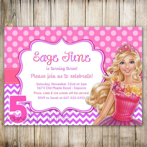 birthday invitations barbie birthday party