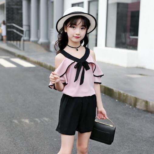Girls clothing sets Summer Kids Fashion dew shoulder Tops + Shorts Two Piece Suit Children Clothes Teenage Girls Outfits 6 8 10 #teenagegirlclothes