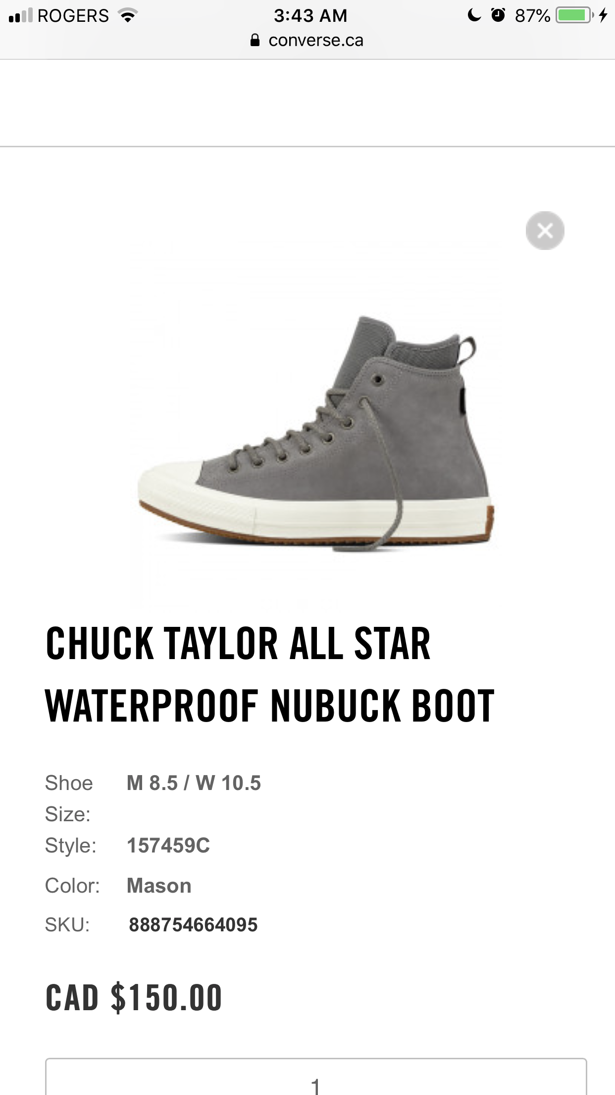 grey converse chuck taylor all star waterproof nubuck mens boot 157459c 048  fashion style b7627 7191a 6dbd7372f1