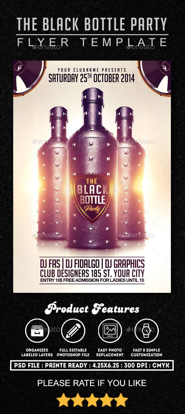 Black Bottle Party Flyer Template by FASdesigner THE BLACK BOTTLE - black flyer template