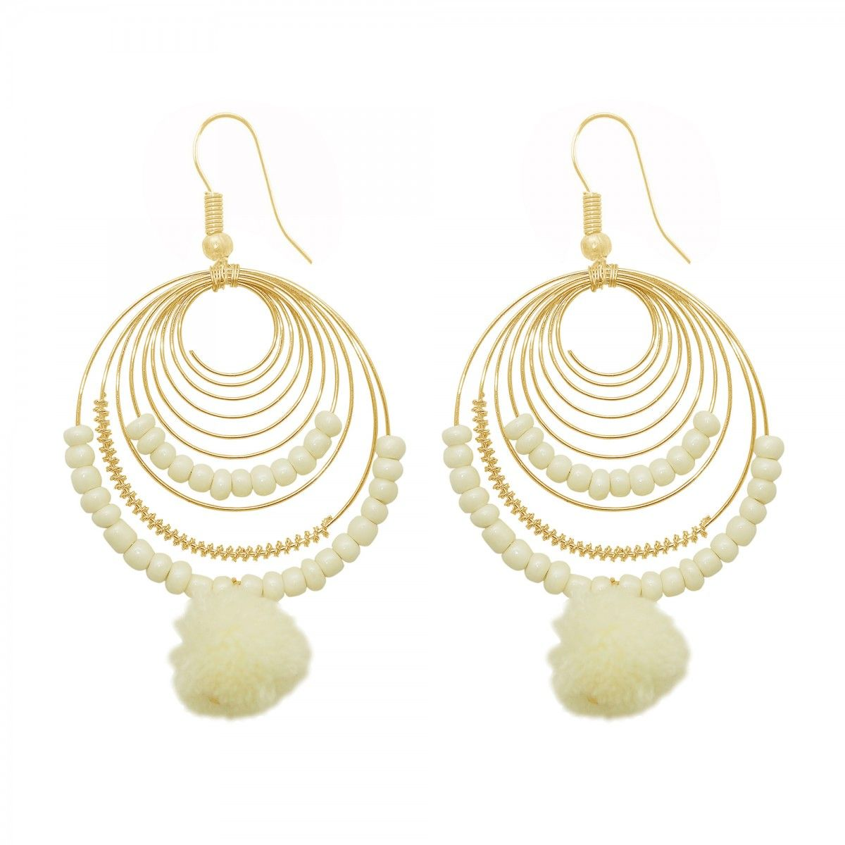 Golden Cream Pearl Hook Earring For Womens Online India Best Prices Reviews Peachmode
