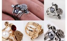 Free shipping! retro fashion personality temperament classic big name roses flower pearl crystal ring wholesale TH-S099-64(China (Mainland))