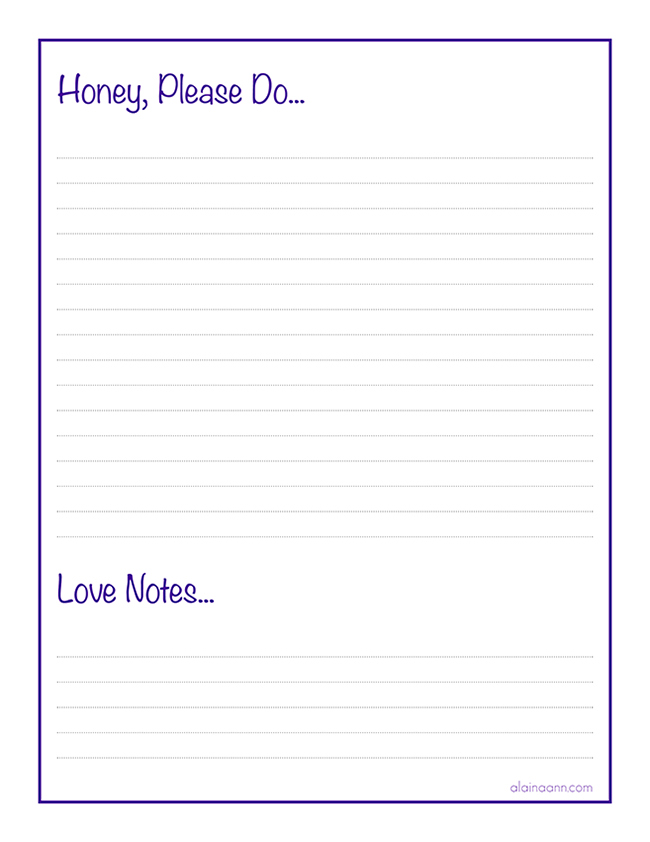 Honey Do List  Organized Family Free Printable  Alaina Ann