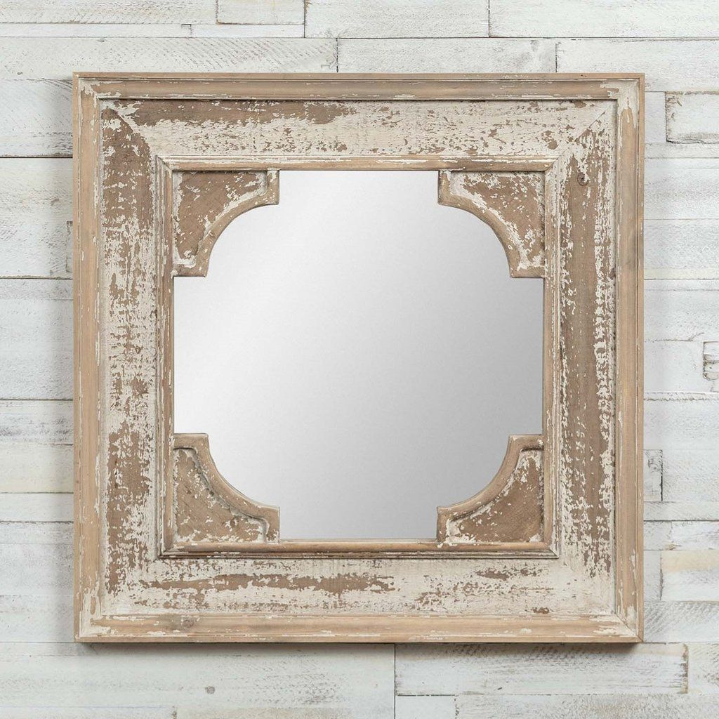 Distressed White Wood Square Wall Mirror In 2020 Wood Square Mirror Mirror Wall